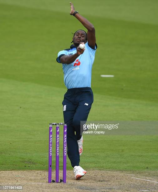 Jofra Archer of England bowls during the 1st Royal London One Day International Series match between England and Australia at Emirates Old Trafford...