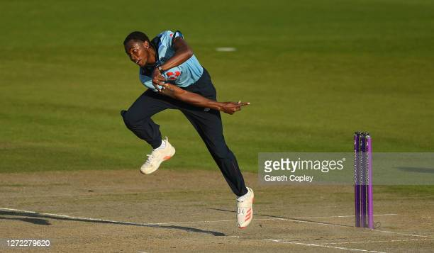 Jofra Archer of England bowls during the 2nd Royal London One Day International Series match between England and Australia at Emirates Old Trafford...