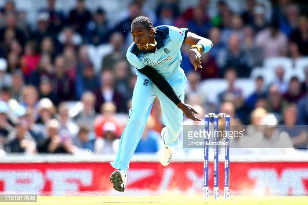 Jofra Archer of England bowls during the ICC Cricket World Cup 2019 Warm Up match between England and Afghanistan at The Kia Oval on May 27 2019 in...