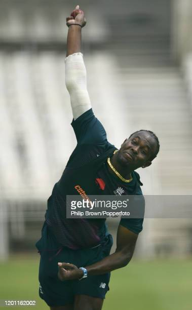Jofra Archer of England bowls in the nets at the Wanderers during a training session before the fourth Test match against South Africa on January 22,...