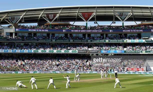 Jofra Archer of England bowls to Marnus Labuschagne of Australia during day two of the 5th Specsavers Ashes Test between England and Australia at The...