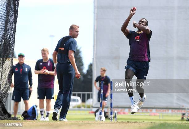 Jofra Archer of England bowls watched by Stuart Broad during a nets session at Bay Oval on November 19 2019 in Mount Maunganui New Zealand