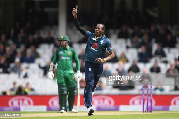 Jofra Archer of England celebrates after dismissing Fakhar Zaman of Pakistan during the 1st Royal London ODI between England and Pakistan at The Kia...