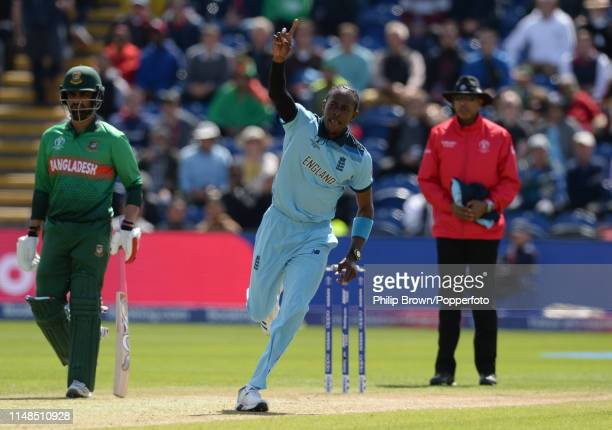 Jofra Archer of England celebrates after dismissing Soumya Sarkar of Bangladesh during the ICC Cricket World Cup Group Match between England and...