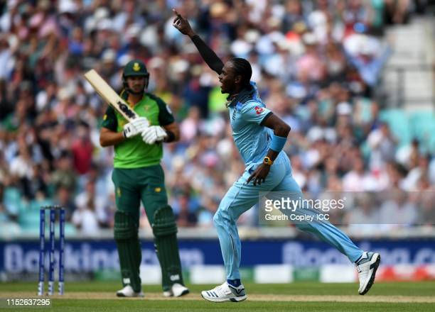 Jofra Archer of England celebrates after taking the wicket of Aiden Markram of South Africa during the Group Stage match of the ICC Cricket World Cup...