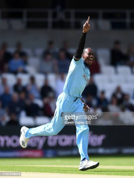 Jofra Archer of England celebrates after taking the wicket of Dimuth Karunaratne of Sri Lanka during the Group Stage match of the ICC Cricket World...