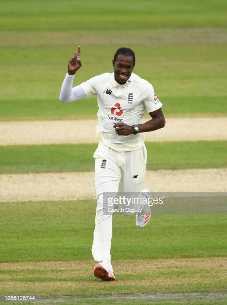 Jofra Archer of England celebrates after taking the wicket of John Campbell of West Indies during Day Two of the Ruth Strauss Foundation Test, the...