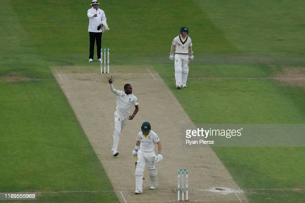 Jofra Archer of England celebrates after taking the wicket of Marcus Harris of Australia during Day One of the 3rd Specsavers Ashes Test match...