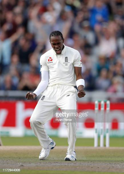Jofra Archer of England celebrates after taking the wicket of Marnus Labuschagne of Australia during day four of the 4th Specsavers Test between...