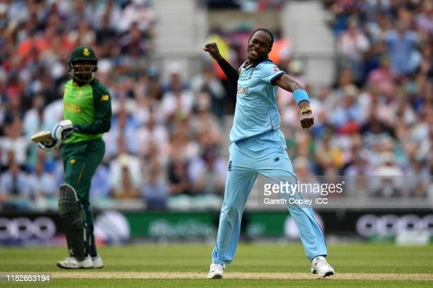Jofra Archer of England celebrates after taking the wicket of Rassie van der Dussen of South Africa during the Group Stage match of the ICC Cricket...