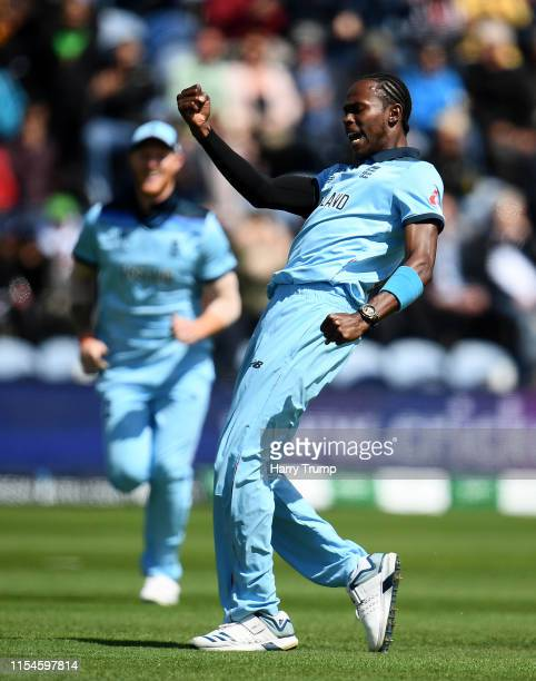 Jofra Archer of England celebrates after taking the wicket of Soumya Sarkar of Bangladesh during the Group Stage match of the ICC Cricket World Cup...