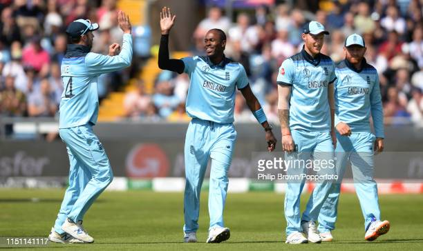 Jofra Archer of England celebrates after the dismissal of Dimuth Karunaratne of Sri Lanka during the ICC Cricket World Cup Group Match between...