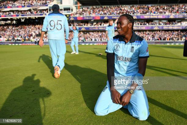 Jofra Archer of England celebrates after winning the Final of the ICC Cricket World Cup 2019 between New Zealand and England at Lord's Cricket Ground...