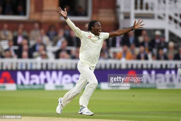 Jofra Archer of England celebrates dismissing Cameron Bancroft of Australia during day three of the 2nd Specsavers Ashes Test match at Lord's Cricket...