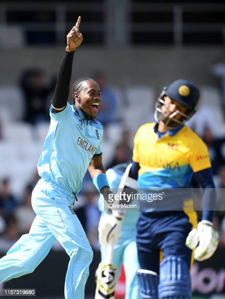 Jofra Archer of England celebrates dismissing Dimuth Karunaratne of Sri Lanka during the Group Stage match of the ICC Cricket World Cup 2019 between...