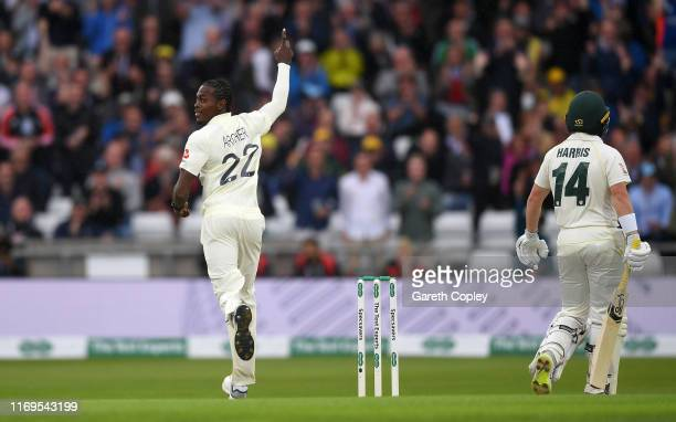 Jofra Archer of England celebrates dismissing Marcus Harris of Australia during day one of the 3rd Specsavers Ashes Test match between England and...