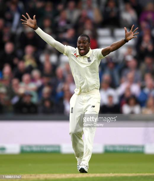 Jofra Archer of England celebrates dismissing Pat Cummins of Australia during day one of the 3rd Specsavers Ashes Test match between England and...