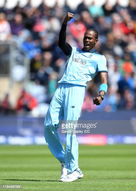 Jofra Archer of England celebrates dismissing Soumya Sarkar of Bangladesh during the Group Stage match of the ICC Cricket World Cup 2019 between...