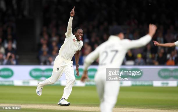 Jofra Archer of England celebrates dismissing Usman Khawaja of Australia during day five of the 2nd Specsavers Ashes Test match at Lord's Cricket...