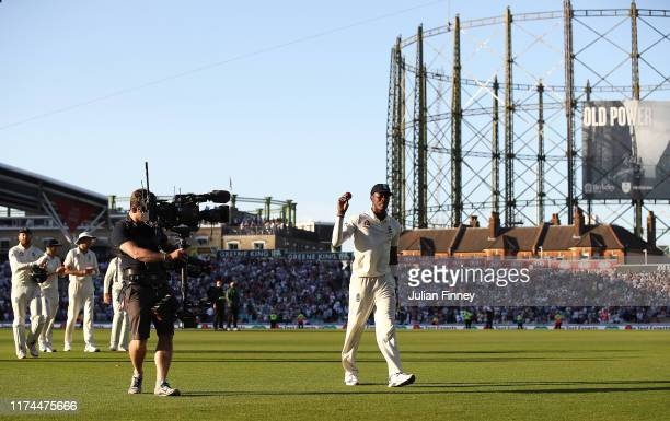Jofra Archer of England celebrates taking six wickets during day two of the 5th Specsavers Ashes Test match between England and Australia at The Kia...