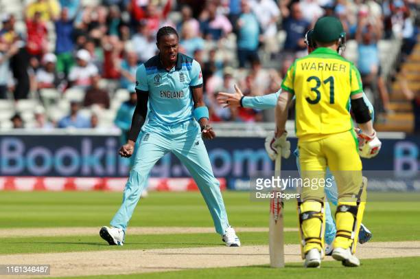 Jofra Archer of England celebrates taking the wicket of Aaron Finch of Australia during the Semi-Final match of the ICC Cricket World Cup 2019...