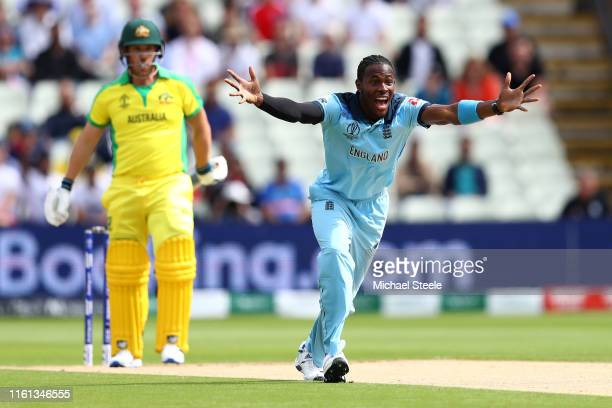 Jofra Archer of England celebrates taking the wicket of Aaron Finch of Australia during the SemiFinal match of the ICC Cricket World Cup 2019 between...