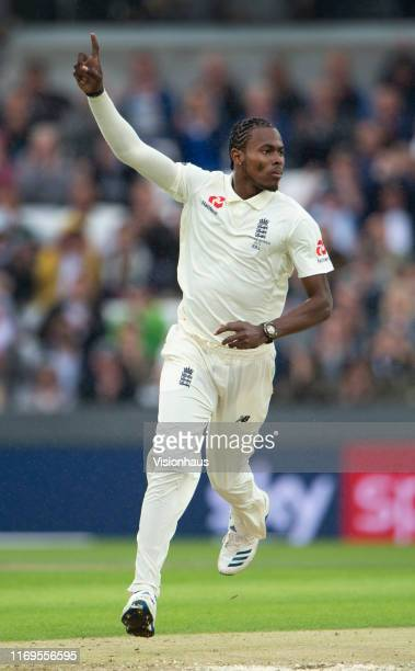 Jofra Archer of England celebrates taking the wicket of Australian opener Marcus Harris during day one of the 3rd Ashes Test match between England...