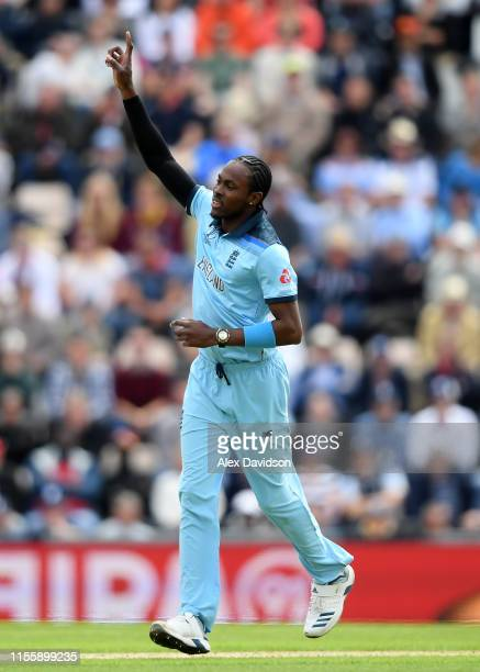 Jofra Archer of England celebrates taking the wicket of Carlos Braithwaite of West Indies during the Group Stage match of the ICC Cricket World Cup...