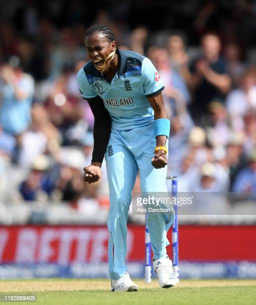 Jofra Archer of England celebrates taking the wicket of Faf du Plessis of South Africa during the Group Stage match of the ICC Cricket World Cup 2019...