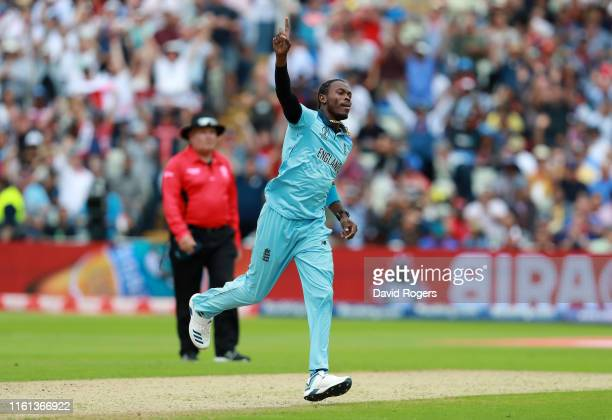 Jofra Archer of England celebrates taking the wicket of Glenn Maxwell of Australia during the Semi-Final match of the ICC Cricket World Cup 2019...
