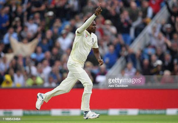 Jofra Archer of England celebrates taking the wicket of Marcus Harris of Australia during Day One of the 3rd Specsavers Ashes Test match between...