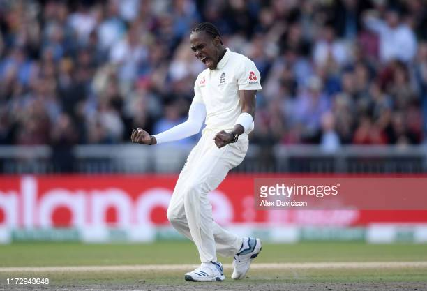 Jofra Archer of England celebrates taking the wicket of Marnus Labuschagne of Australia during Day Four of the 4th Specsavers Ashes Test between...
