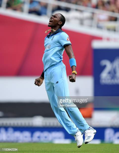 Jofra Archer of England celebrates the wicket of Aiden Markram of South Africa during the Group Stage match of the ICC Cricket World Cup 2019 between...