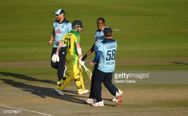 Jofra Archer of England celebrates the wicket of David Warner of Australia with Sam Curran of England during the 2nd Royal London One Day...