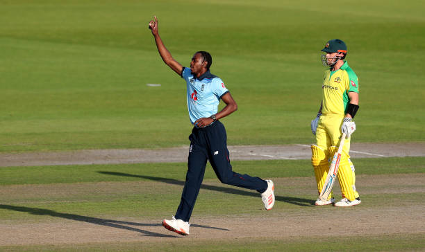 Jofra Archer of England celebrates the wicket of David Warner of Australia during the 2nd Royal London One Day International Series match between...