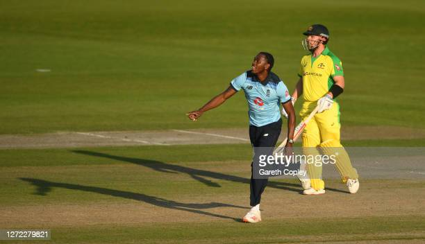Jofra Archer of England celebrates the wicket of Marcus Stoinis of Australia during the 2nd Royal London One Day International Series match between...
