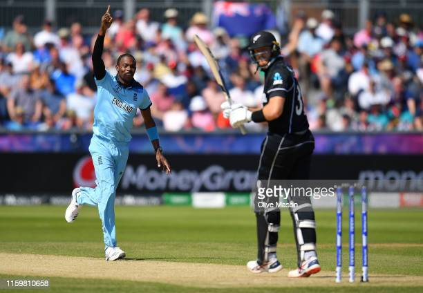 Jofra Archer of England celebrates the wicket of Martin Guptill of New Zealand during the Group Stage match of the ICC Cricket World Cup 2019 between...