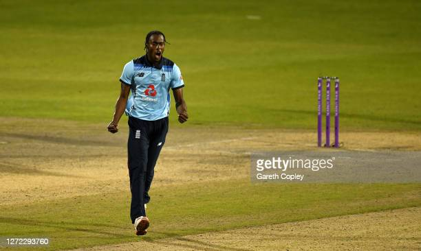 Jofra Archer of England celebrates the wicket of Mitchell Marsh of Australia during the 2nd Royal London One Day International Series match between...