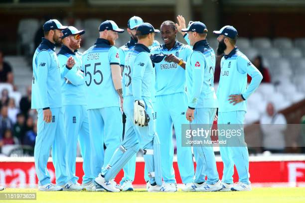 Jofra Archer of England celebrates with his teammates after dismissing Rahmat Shah of Afghanistan during the ICC Cricket World Cup 2019 Warm Up match...