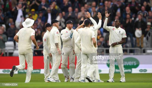 Jofra Archer of England celebrates with teammates after dismissing Marcus Harris of Australia during day one of the 3rd Specsavers Ashes Test match...