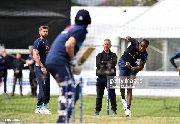 Jofra Archer of England during the open nets training session at Malahide Cricket Club on May 2 2019 in Dublin Ireland England will play Ireland in a...