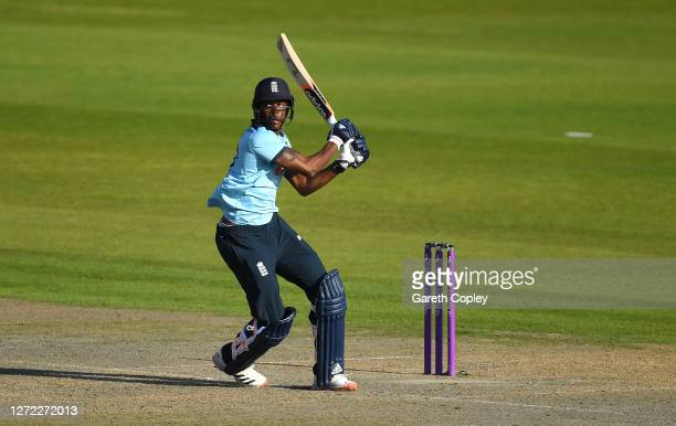 Jofra Archer of England hits out during the 2nd Royal London One Day International Series match between England and Australia at Emirates Old...