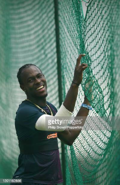 Jofra Archer of England laughs after bowling a ball in the nets at the Wanderers before the fourth Test match against South Africa on January 22 2020...