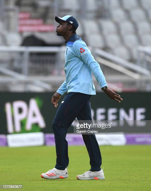 Jofra Archer of England leaves the field after being struck on the hand during the 3rd Royal London One Day International Series match between...