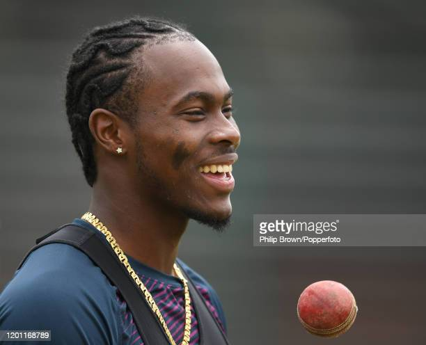 Jofra Archer of England looks on at the Wanderers during a training session before the fourth Test match against South Africa on January 22, 2020 in...