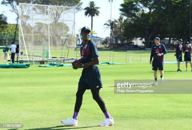 Jofra Archer of England looks on during a training session at St George's Park before the third Test Match between England and South Africa on...