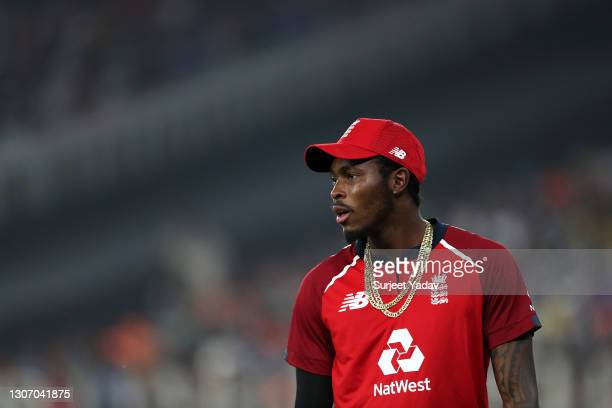 Jofra Archer of England looks on during the 2nd T20 International match between India and England at Narendra Modi Stadium on March 14, 2021 in...