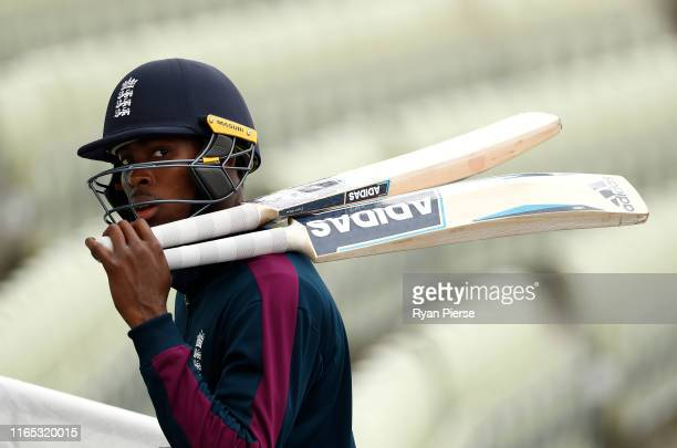 Jofra Archer of England looks on during the England Nets Session at Edgbaston on July 31 2019 in Birmingham England