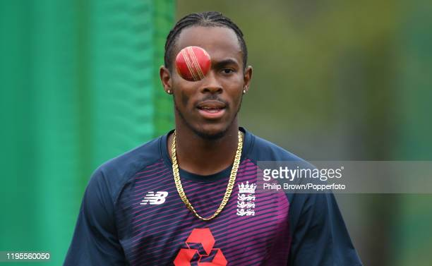 Jofra Archer of England looks on in the nets before the first test against South Africa on December 23, 2019 in Centurion, South Africa.