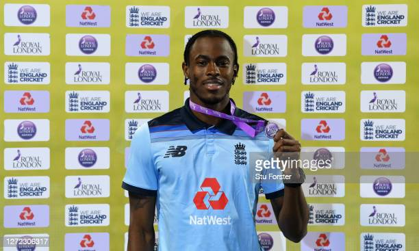 Jofra Archer of England poses with the Royal London Player of the Match award after the 2nd Royal London One Day International Series match between...